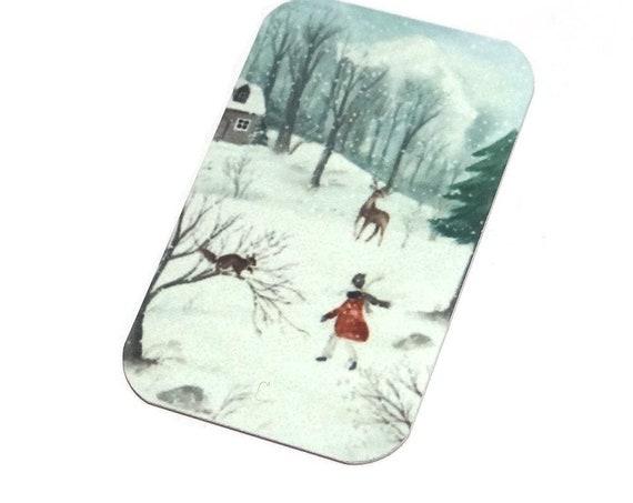 "Small Metal Winter Scene Pendant Handmade 32mm 1.25"" MSR5-1"