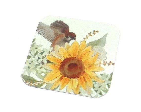 "Metal Sunflower Bird Charm Pendant Handmade 25mm 1"" Square MSQ4-2"