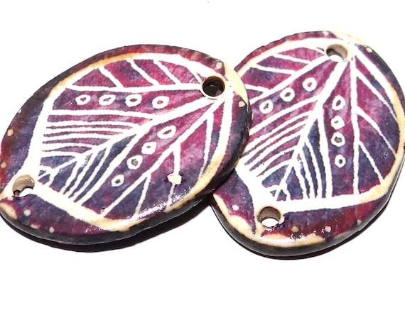 "Ceramic Leaf Earring Charms Pair Beads Handmade Rustic 24mm/1"" CC2-2"