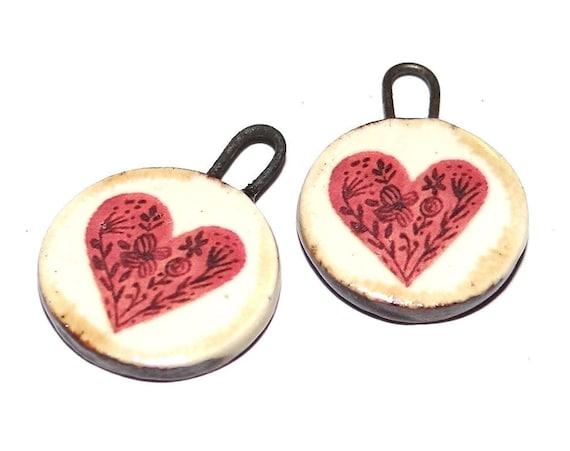 "Ceramic Heart Charms Beads Pair Porcelain 18mm 0.7"" CC1-3"