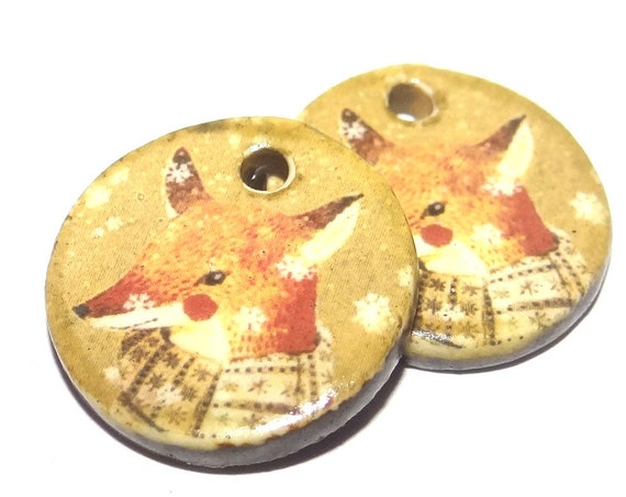 Ceramic Fox Winter Earring Charms Dangle Pair Beads Handmade Rustic