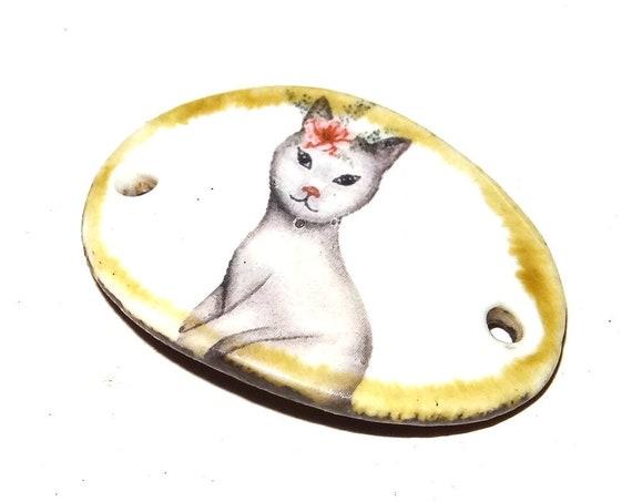 Ceramic Cat Bracelet Bar Handmade Cuff Porcelain