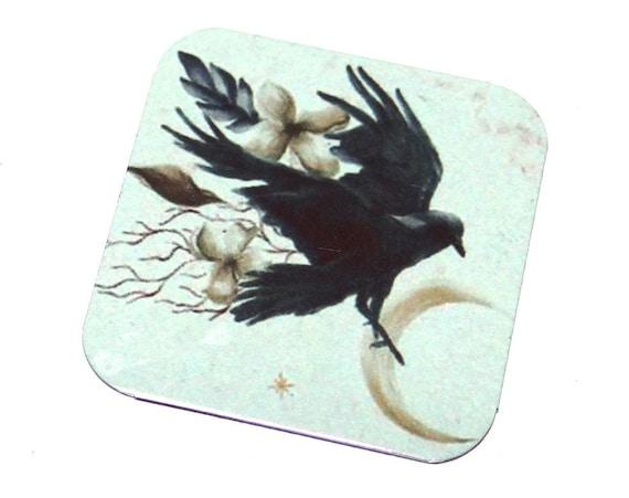 "Metal Crow Charm Pendant Handmade 25mm 1"" Square"