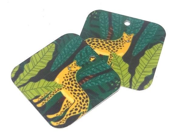 Metal Patterned Earring Charms Handmade Cheetah Big Cat Jungle