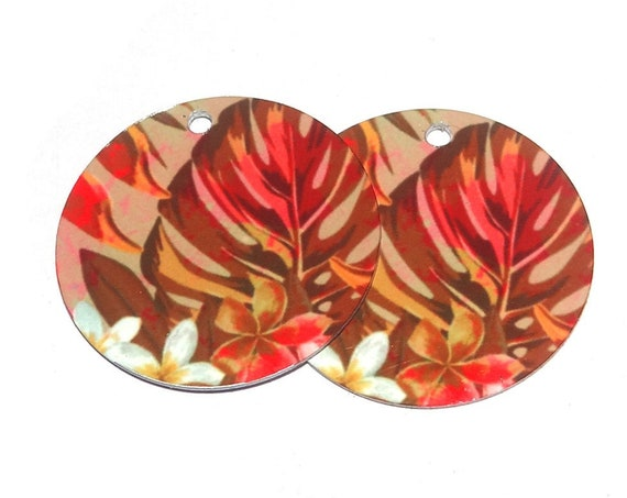 Metal Colourful Leaf Patterned Earring Charms Handmade