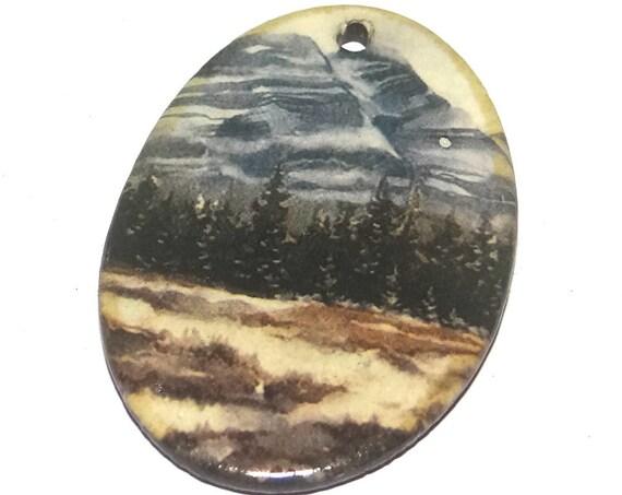 Ceramic Wilderness Mountains Forest Pendant Porcelain Handmade Focal