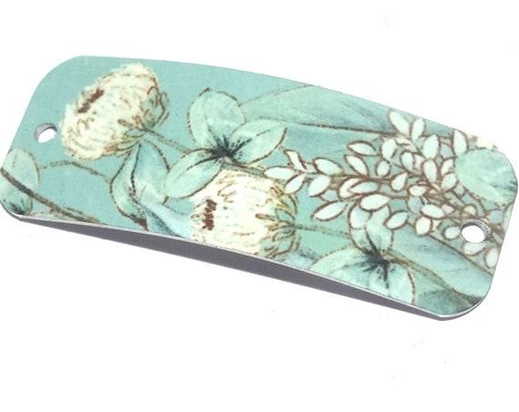 Metal Bracelet Bar Cuff Handmade Seafoam Flowers Floral