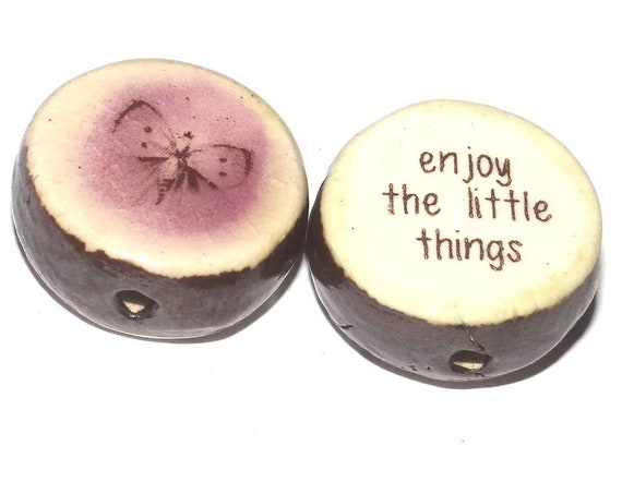 1 Ceramic Double Sided Quote Bead Porcelain Handmade Butterfly
