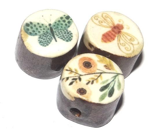 Ceramic Butterfly Bird Animal Bead Set Porcelain Handmade Rustic
