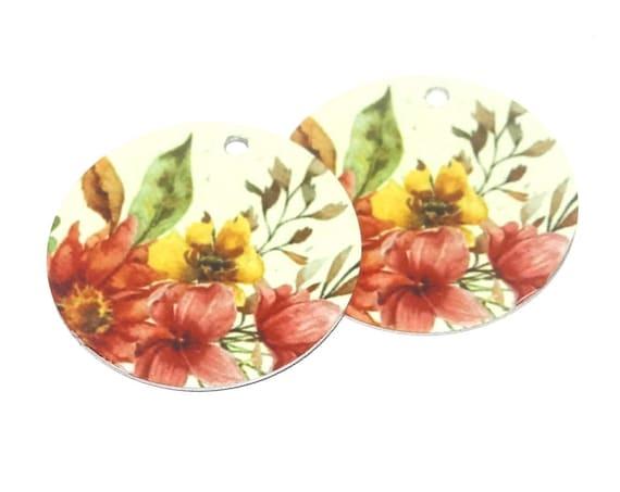Metal Floral Earring Charms Handmade Rustic Flowers Pretty Beads