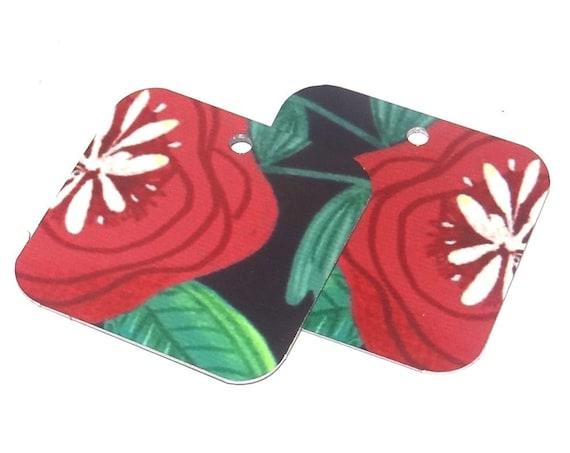 Metal Patterned Earring Charms Handmade Red Flowers