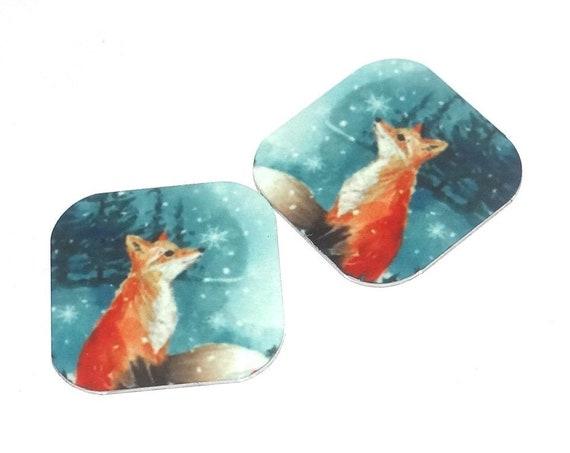 "Metal Fox Earring Charms Handmade Wildlife Animal 16mm 5/8"" MC2-3"