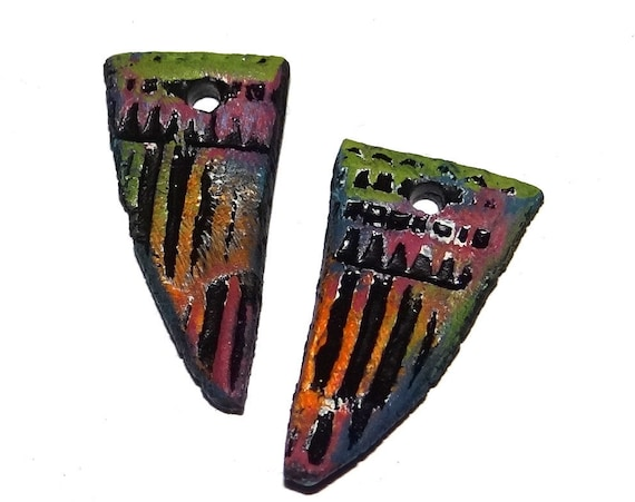 Ceramic Earring Charms Colourfully Rustic Textured Handmade Painted