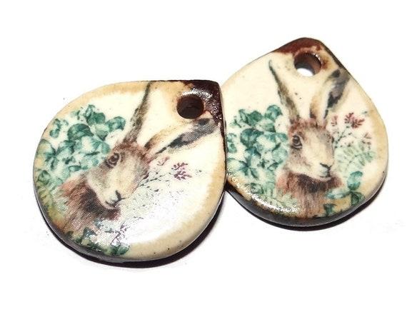 "Ceramic Hare Earring Charms Pair Beads Handmade Rustic 18mm/0.7"" CC3-3"