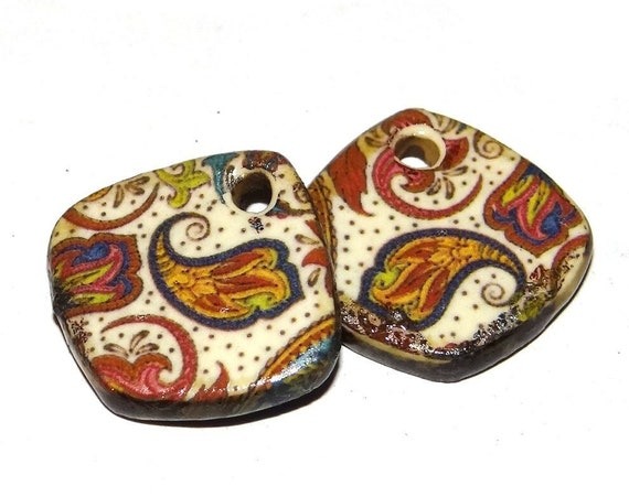 "Ceramic Paisley Earring Charms Pair Beads Handmade Rustic 18mm/0.7"" CC1-1"