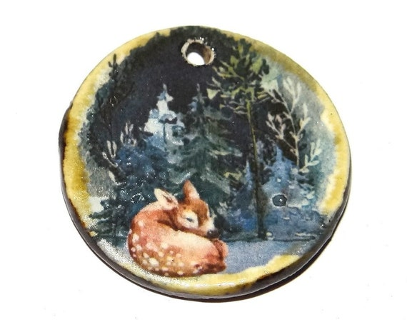 "Ceramic Deer Pendant Handmade Focal Porcelain 30mm 1.2"" CP5-1"
