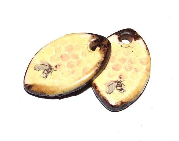 "Ceramic Honeycomb Bee Earring Charms Pair Beads Handmade Rustic 18mm/0.7"" CC1-1"