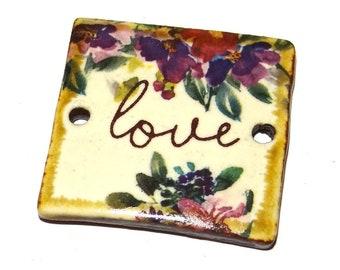 "Ceramic Quote Pendant Word Handmade Focal Inspirational 30mm 1.2"" CP5-3"