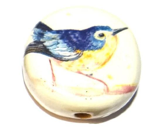 "Large Ceramic Bird Focal Bead Handmade Pottery Beads 30mm 1.2"" CFB4-2"