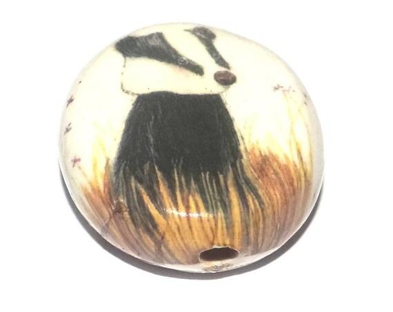 Ceramic Badger Focal Bead Handmade Pottery Beads