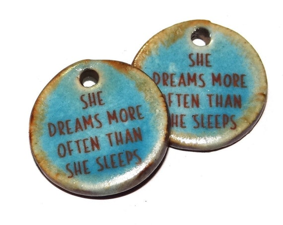 """Ceramic Quote Earring Charms Pair Beads Handmade Rustic 18mm/0.7"""" CC3-4"""
