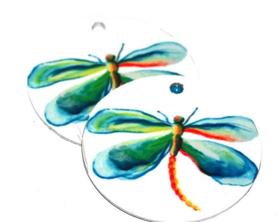"Metal Dragonfly Earring Charms Handmade 1"" 25mm MC6-2"
