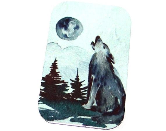 "Small Metal Wolf Pendant Handmade 32mm 1.25"" MSR5-2"