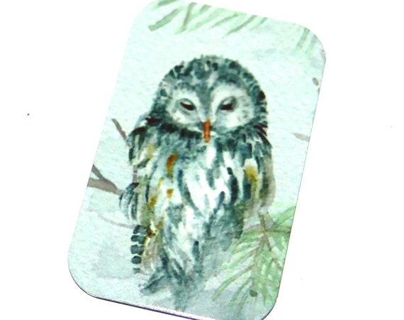 "Small Metal Owl Pendant Handmade 32mm 1.25"" MSR5-3"