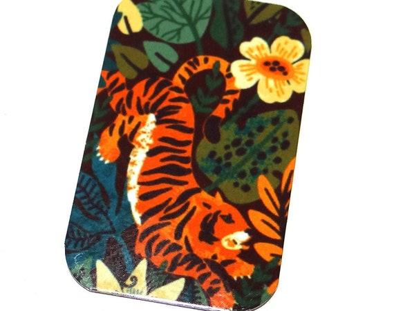 "Small Metal Tiger Floral Pendant Handmade 32mm 1.25"" MSR5-2"