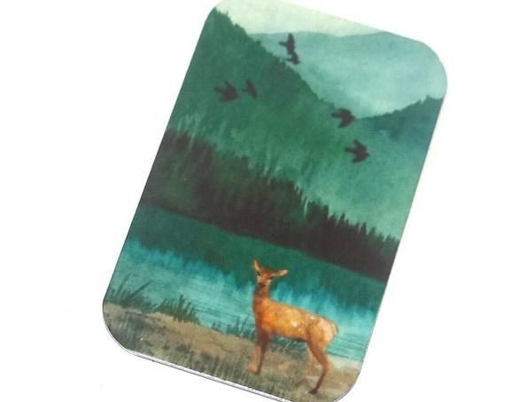 "Small Metal Deer Pendant Handmade 32mm 1.25"" MSR5-2"