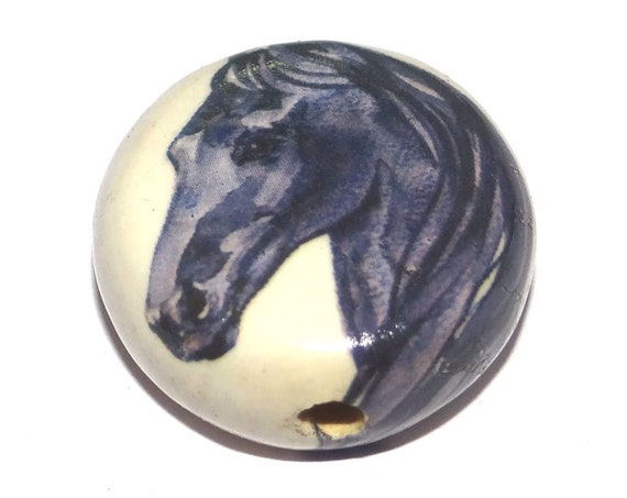 Ceramic Large Horse Focal Bead Porcelain Handmade