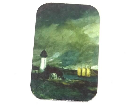 "Small Metal Lighthouse Pendant Handmade 32mm 1.25"" MSR5-1"