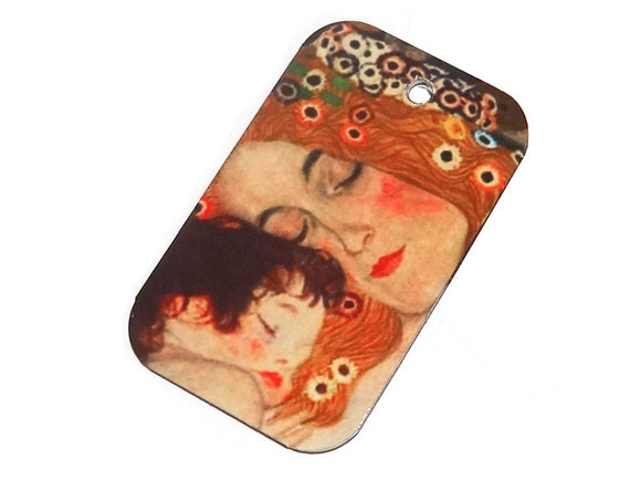 Metal Klimt Mother Child Pendant Handmade