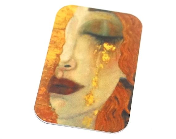 "Small Metal Klimt Pendant Handmade Woman Crying 32mm 1.25"" MSR5-1"