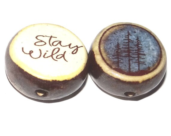 1 Ceramic Double Sided Quote Bead Porcelain Handmade Forest