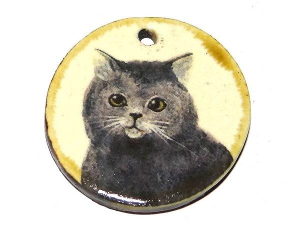 "Ceramic Cat Pendant Handmade Focal Porcelain 30mm 1.2"" CP5-1"