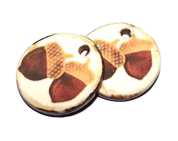 "Ceramic Acorn Earring Charms Pair Beads Handmade Rustic 24mm/1"" CC3-3"