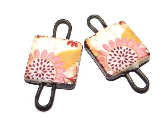 "Ceramic Floral Charms Beads Pair Porcelain 18mm 0.7"" CC1-4"