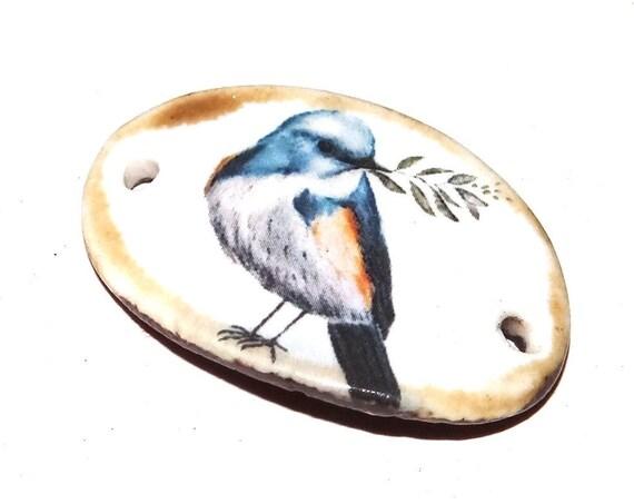 Ceramic Bird Bracelet Bar Handmade Cuff Porcelain