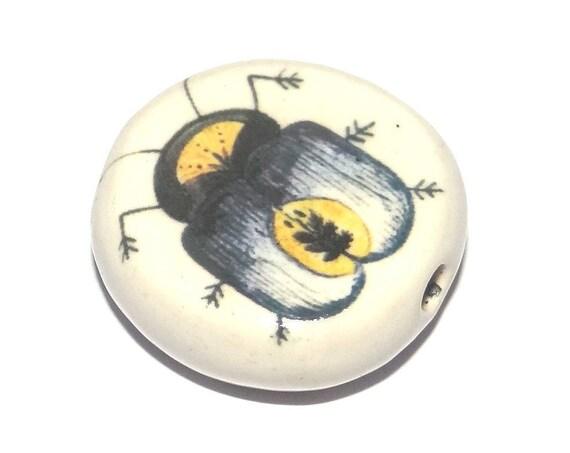 Ceramic Beetle Focal Bead Handmade Pottery Beads