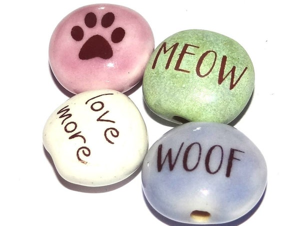 Ceramic Quote Bead Set Beads Handmade Pets Cat Dog