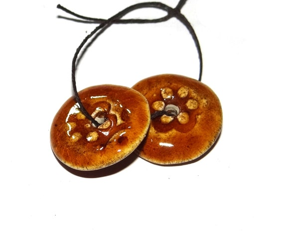 Ceramic Disk Earring Charms Pair Stoneware Pottery Ochre