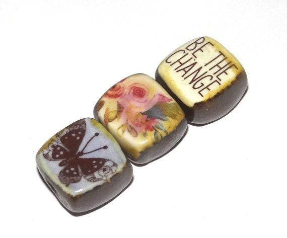 Ceramic Quote Bead Set Cube Beads Handmade