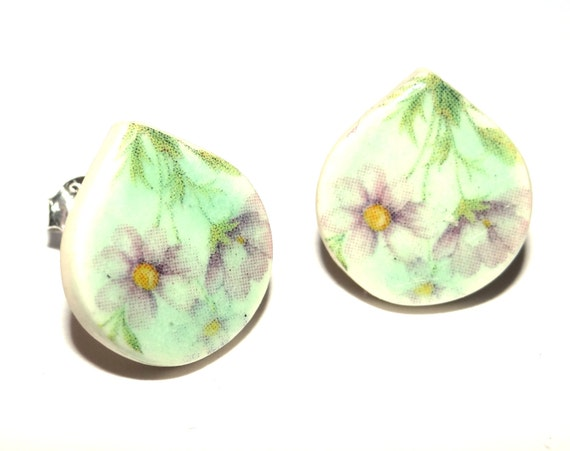 Handmade Ceramic Sterling Silver Stud Earrings Colourful Aqua Lilac