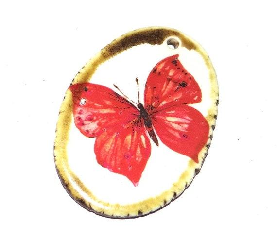 Ceramic Butterfly Handmade Focal Pendant Porcelain Orange