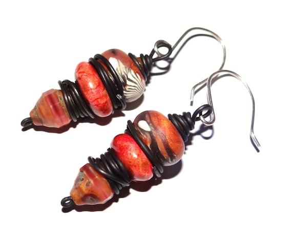 Handmade Rustic Steel Sterling Silver Stacked Beaded Earrings Orange Coral Red