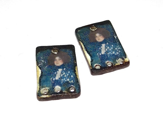 Ceramic Klimt Earring Charms Pair Stoneware Pottery Blue SECONDS