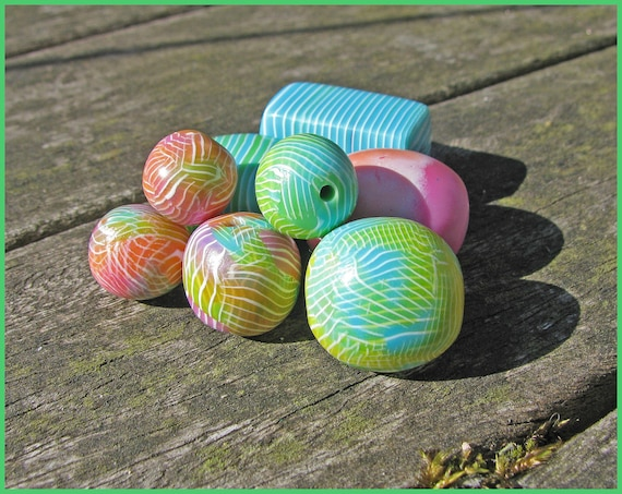 Layered Stripes Polymer Clay Cane & Bead Tutorial Instant Download