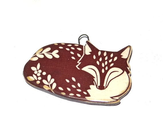 Ceramic Fox Pendant Handmade Cuff Porcelain