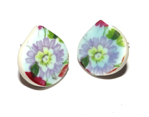 Handmade Ceramic Sterling Silver Stud Earrings Colourful